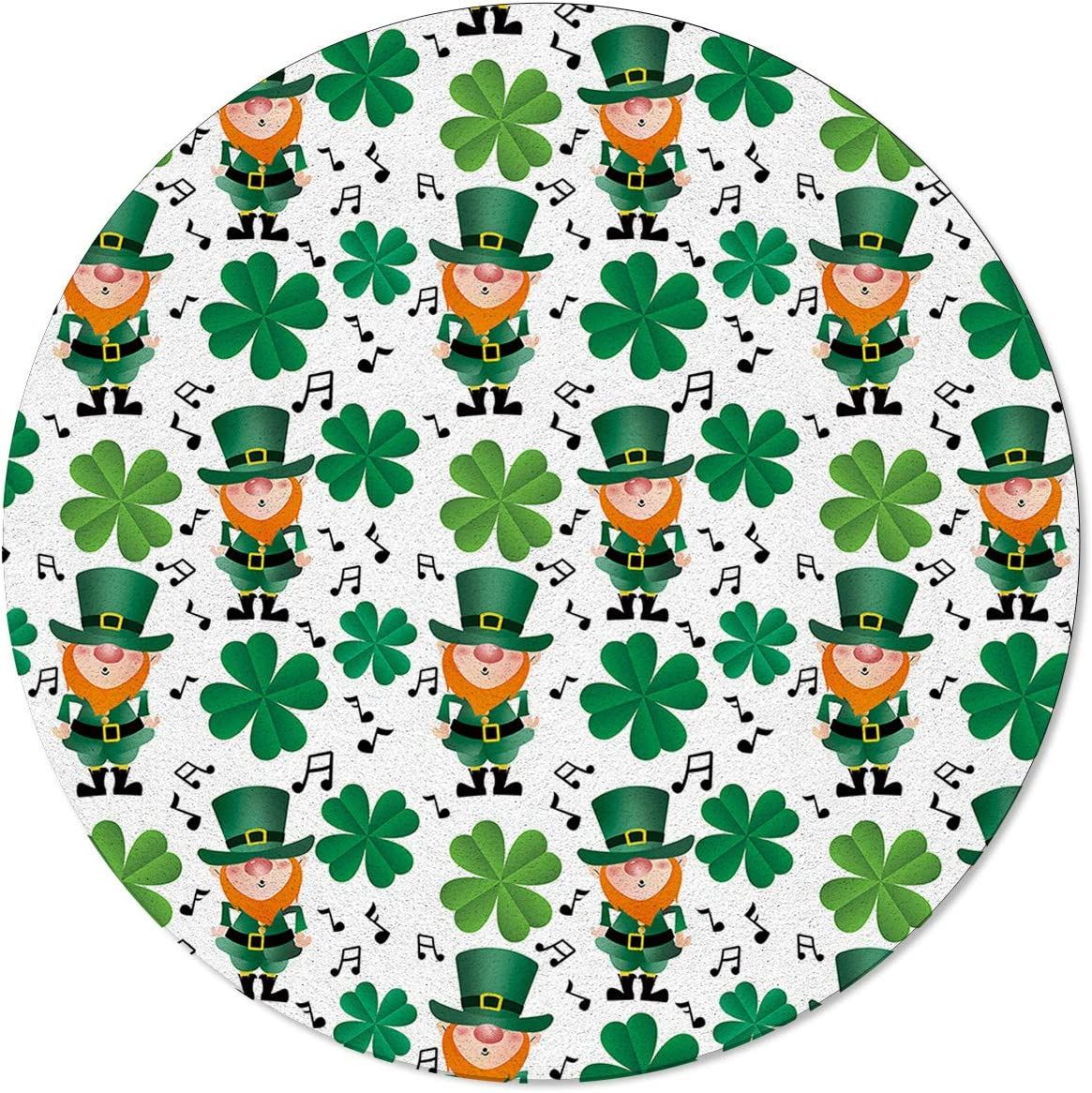 Great interest ARTSHOWING St. Patrick's Day Area Non-Shedding Rug trust Round Dining