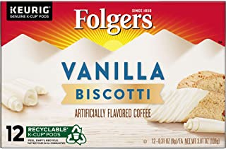 Folgers Vanilla Biscotti Flavored Coffee, K Cup Pods for Keurig K Cup Brewers, 12-Count (Pack of 6) (Packaging may vary)