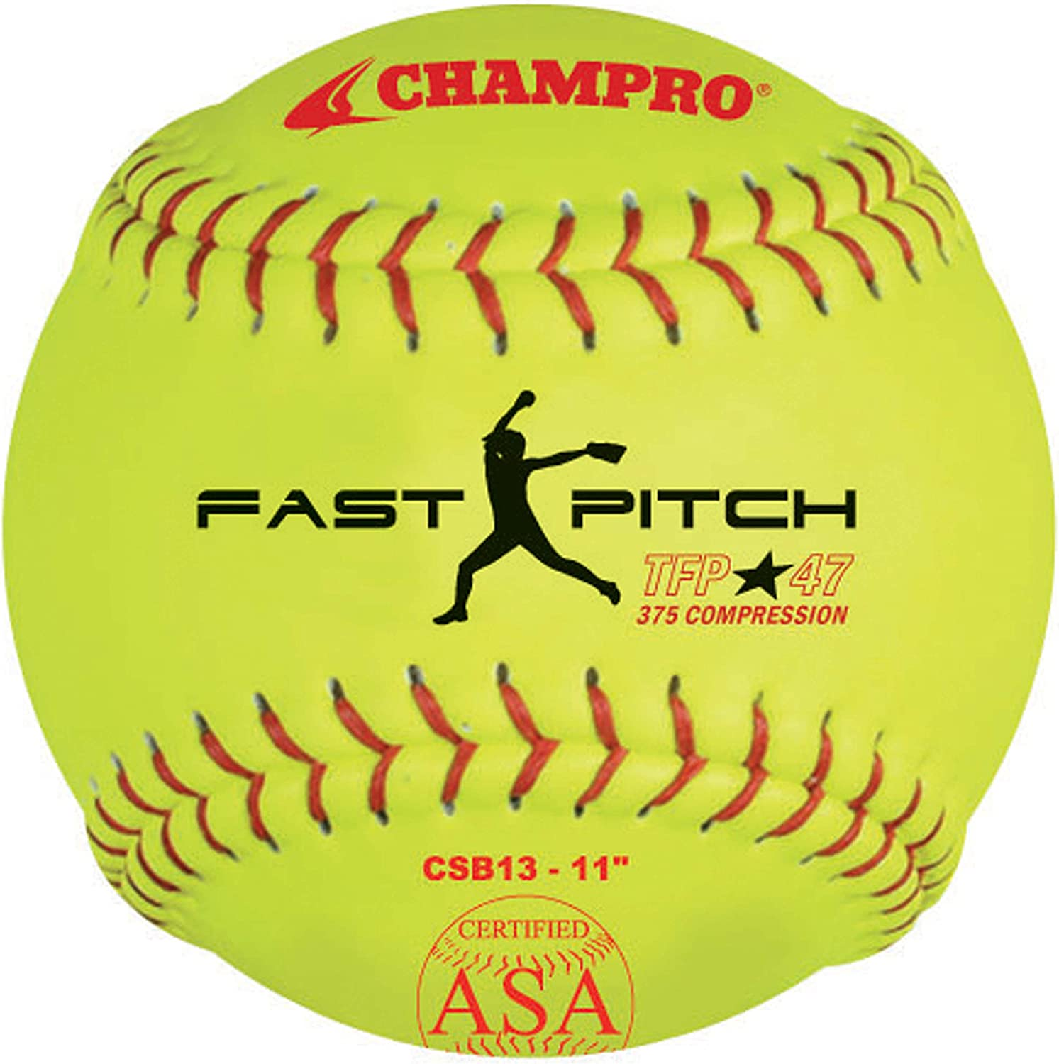 Champro ASA Tournament Leather Cover, Red Stiches (Optic Yellow, 11Inch)