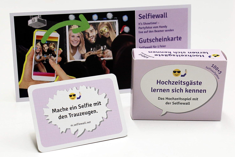 Selfiewall Hochzeitsspiel Partyset mit 100 lustigen Fotoaufgaben & Live Diashow für Beamer