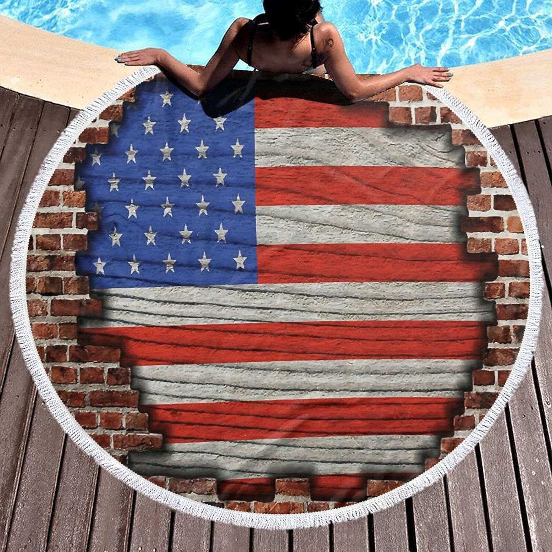 Feim-AO Round Luxury goods Beach Towel Blanket American On Wal Raleigh Mall Old Brick Flag