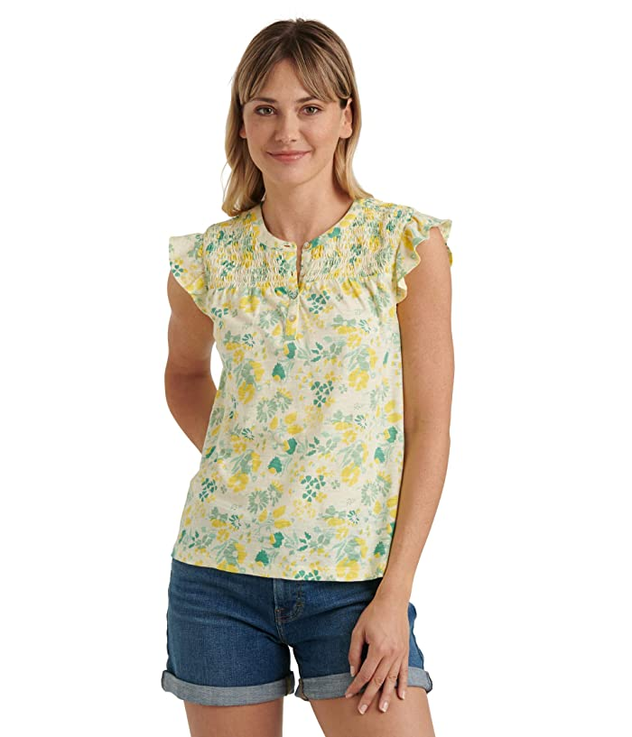 Lucky Brand  Sleeveless Button-Up Smocked Printed Top (Yellow Multi) Womens Clothing