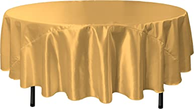 LA Linen Bridal Satin Round Tablecloth, 90-Inch, Gold