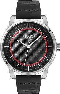Hugo Boss Men'S Black Dial Black Leather Watch - 1530099