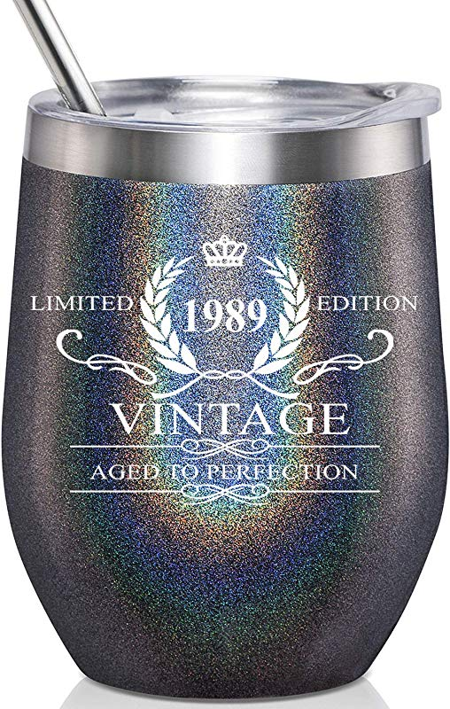1989 Vintage Aged To Perfection Stainless Steel Wine Tumbler Funny 30th Birthday Gifts For Men Anniversary Gift Ideas For Dad Father Boyfriend Husband Party Reunion Decorations For Him
