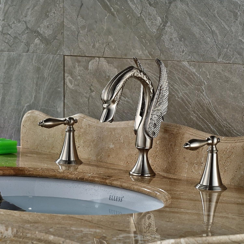 VanMe Basin Faucet Nickel Brushed Bathroom Basin Faucet Dual Handles Vantiy Sink Mixer