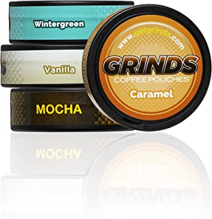 Grinds Coffee Pouches | Top 4 Flavors | Wintergreen, Vanilla, Mocha, Caramel | Tobacco Free, Nicotine Free Healthy Alternative | 1 Pouch eq. 1/4 Cup of Coffee (Top 4 Flavors)