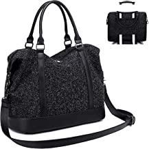 Women Weekender Travel Tote Overnight Carry On Bag With Luggage Sleeve (A-Black)