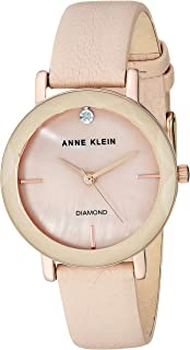Anne Klein Women's Genuine Diamond Dial Leather Strap Watch