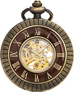 Mens Imitative Wood Luminous Skeleton Mechanical Roman Numerals Pocket Watch with Chain Gift