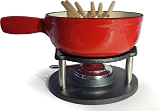 osoltus BBQ gietijzer fondue kaasfondue email gecoat rood