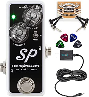 Xotic SP Compressor Guitar Effects Pedal Bundle with Blucoil Slim 9V 670ma Power Supply AC Adapter, 2-Pack of Pedal Patch Cables, and 4-Pack of Celluloid Guitar Picks
