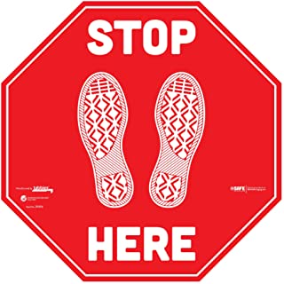 "BeSafe Messaging ""Stop Here"", 6 Pack - 12"" Red Stop Signs, Repositionable Vinyl UL 410 Certified Anti-Slip Floor Sign, Com..."