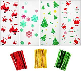 200 Pieces Christmas Cellophane Bags with Snowflake Snowman Santa Claus Christmas Trees Patterns for Christmas Party Supplies (Style 1)