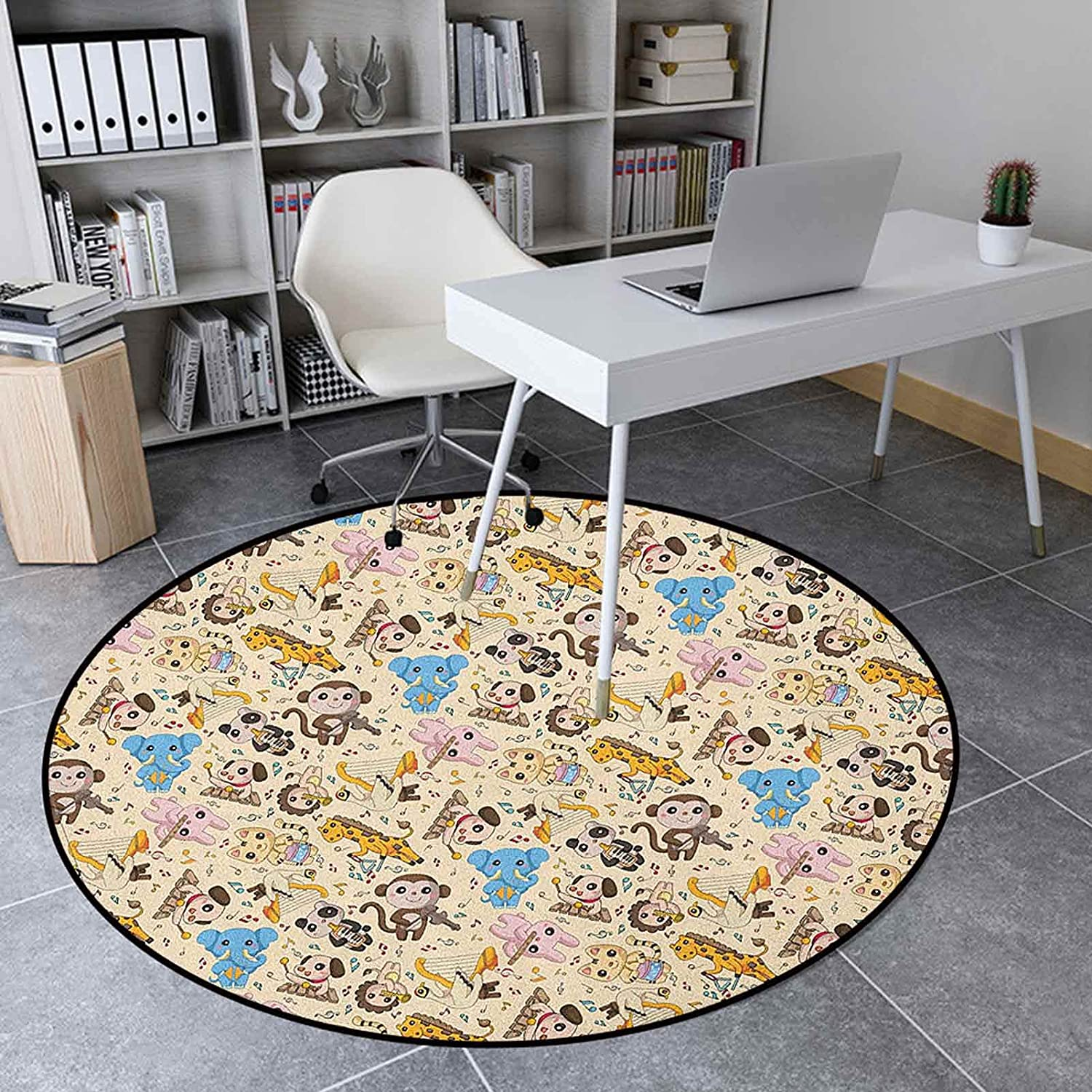 Cartoon Animal Area Rug Round 3.6 High order Ft Non-Slip Mat Max 67% OFF Inches