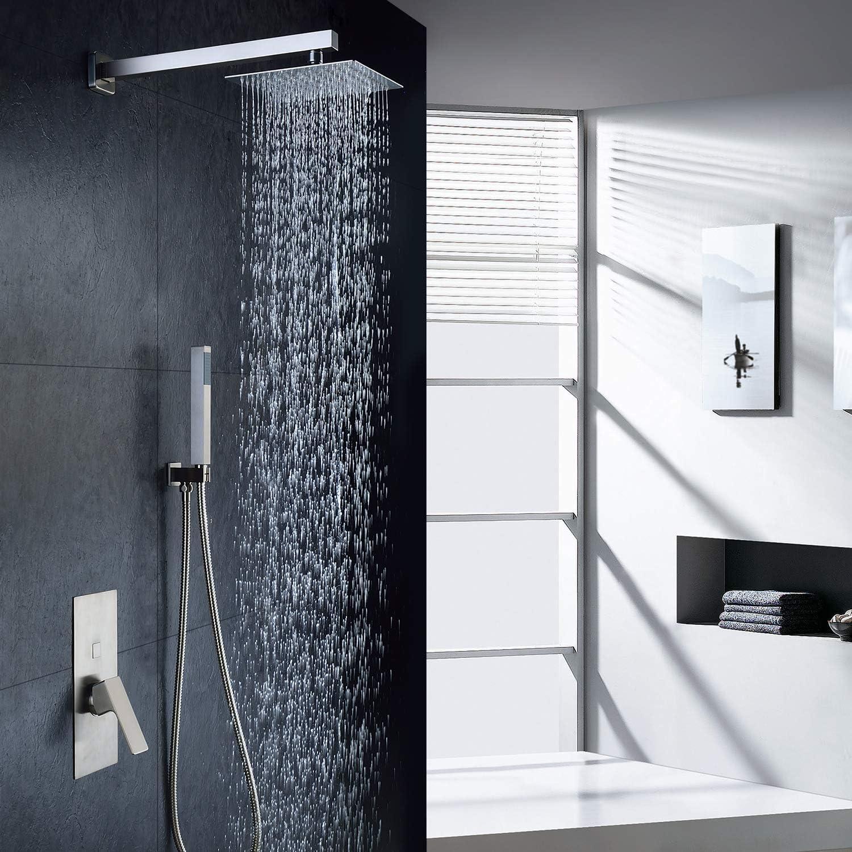 Buy Bathroom Luxury Rain Mixer Shower Combo Set Wall Mounted ...