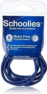 Schoolies Hair Accessories #SC661 Metal Free Ponytail Holders 6 Pieces, Real Dark Blue