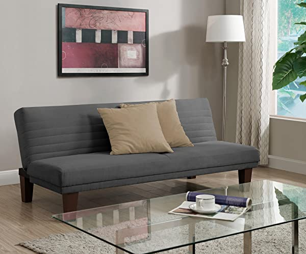 DHP Dillan Convertible Futon With Microfiber Upholstery Grey
