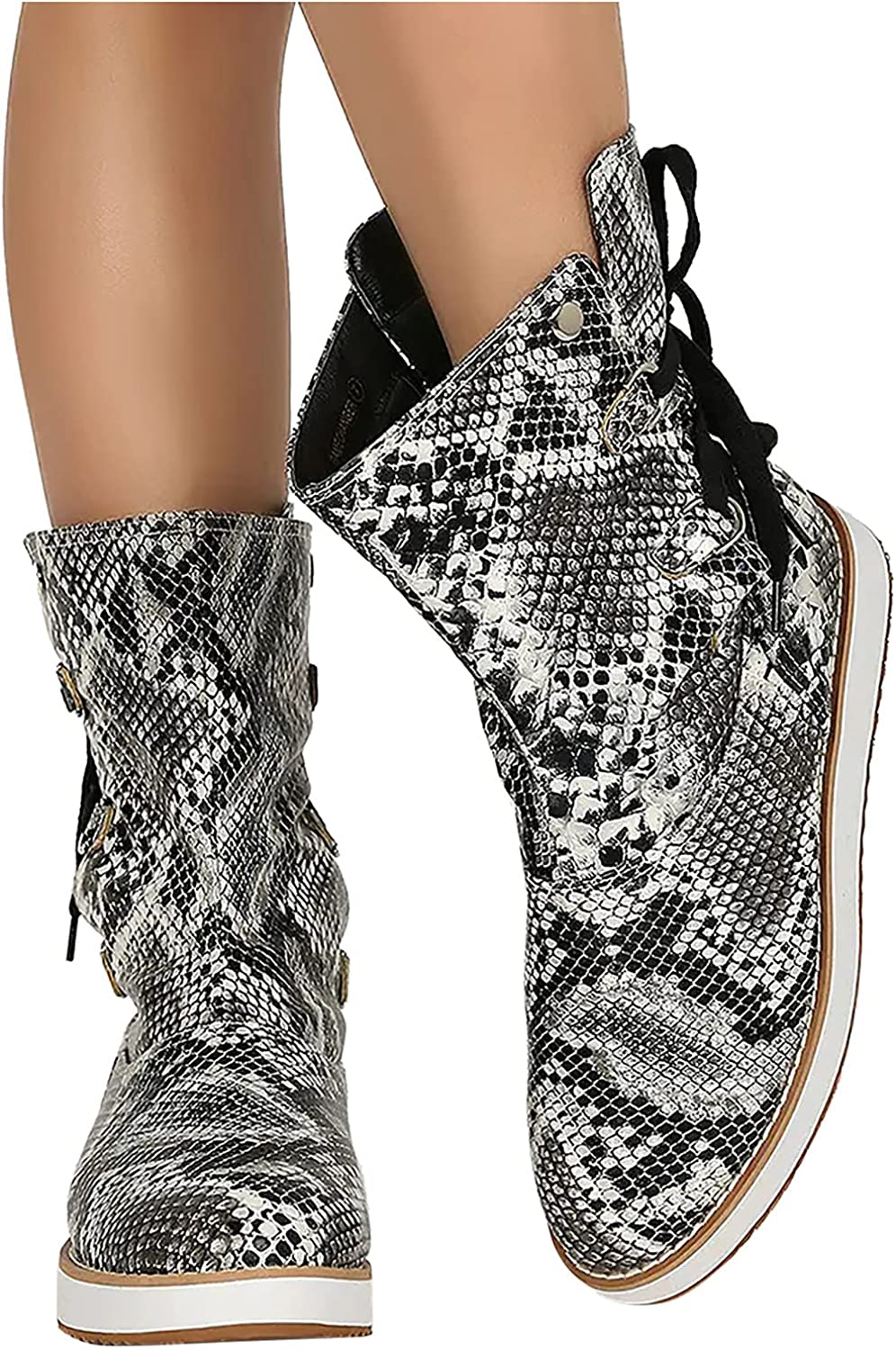 Cowboy Boots For Women Plus Size Retro Stitching Sleeve Cross Strap Mid-Tube Boots
