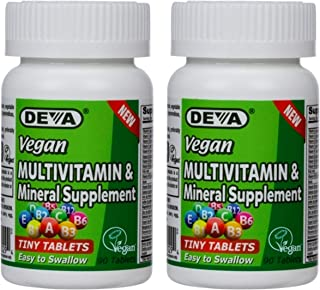 Deva Vegan Multivitamin and Mineral Supplement - Gluten Free - Dairy Free - 90 Tiny Tablets (Pack of 2)