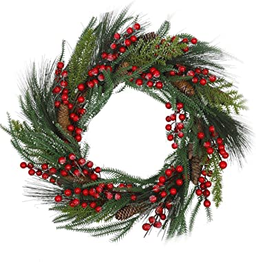 20 Inch Red Berry Christmas Wreath - Artificial Pinecons Spruce Pine Spray Traditional Christmas Wreath Decoration,Winter Hol