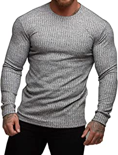 Magift Men's Extended Thermal Crew Neck Knitted Stripe Solid Fleece Winter Fashion Urban Warm Base Shirt Sweater Long Sleeve