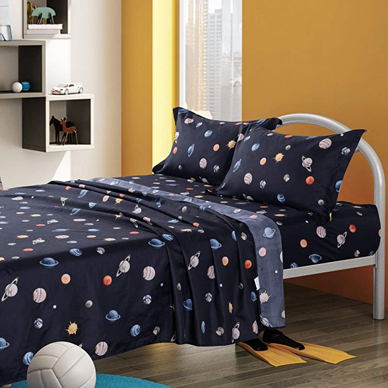 KFZ Twin Bed Sheets Set For Boys And Girls Navy Blue Solar System Planets Printed 4 Pieces Bedding With 1 Fitted Sheet 1 Flat Sheet 2 Pillowcase Soft Egyptian Quality Brushed Microfiber Bed Set