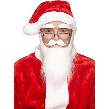 Long White Father Christmas Santa Beard With Moustache /& Eyebrows Fancy Dress