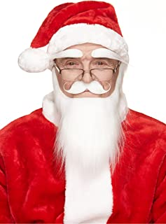 Mustaches Self Adhesive, Novelty, Santa Claus Beard, Mustache and Eyebrows, Saint Nicholas Costume Accessory for Adults