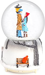 QTKJ Musical Snow Globes 100mm, Romantic Lover Hand in Hand with Color Changing LED Lights, Perfect Home Decor Valentine's Birthday Gift