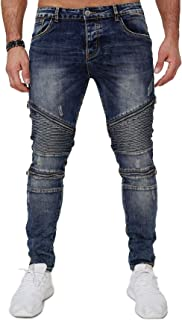 EGOMAXX Men's Denim Biker Jeans Stretch Slim Fit Pants Used Design Big Ripps Destroyed Zipper Trousers