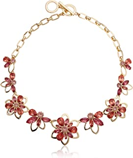 Women's Gold/Coral Flower Frontal Necklace, Size 0