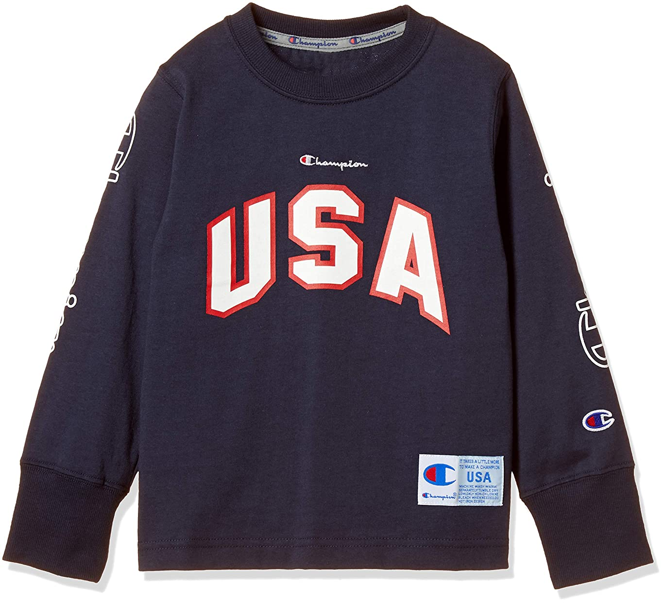 わずかに学習塩[チャンピオン] USAロゴ ロングスリーブTシャツ CS4788 ボーイズ