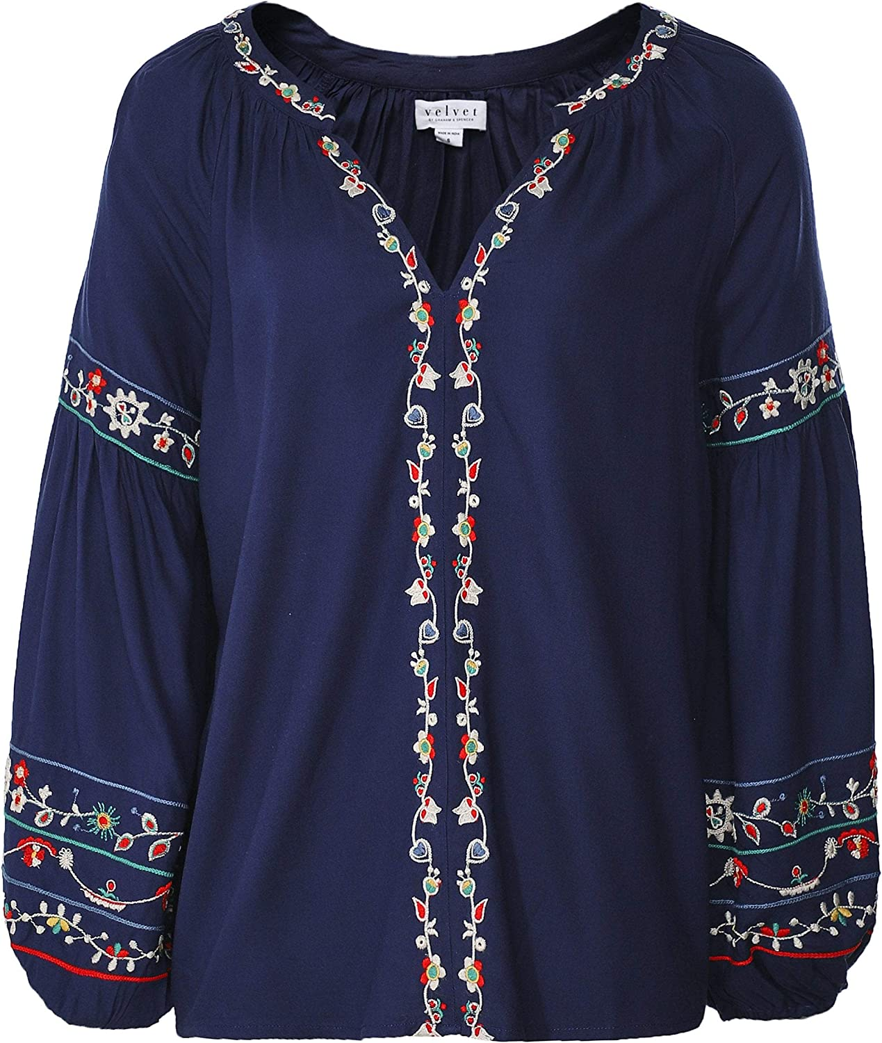 Velvet by Graham and Spencer Women's Carina Embroidered Peasant Top Navy