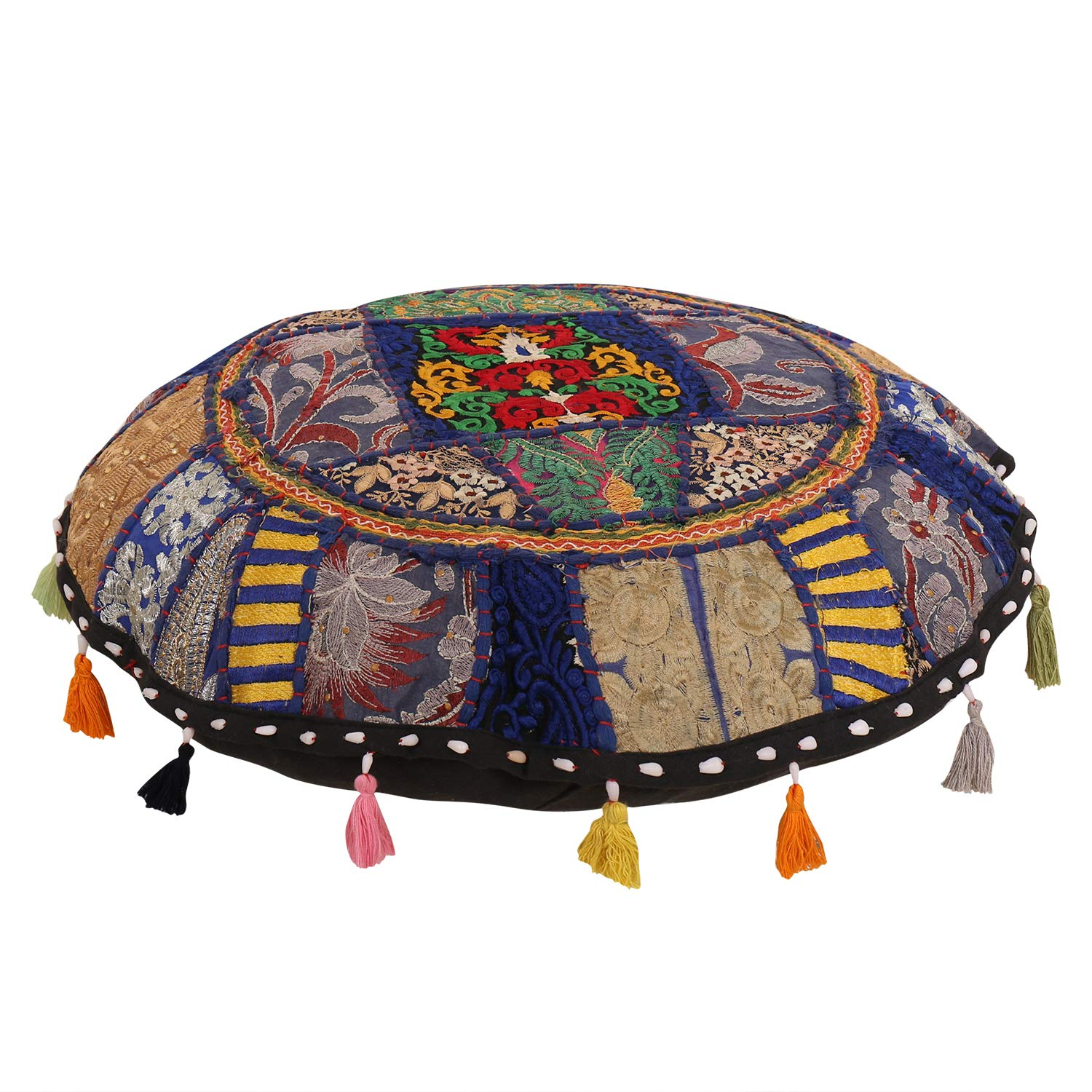 Beautiful Decorative Ruond Ottoman Indian Large discharge sale High quality Patchwork Pouffe India