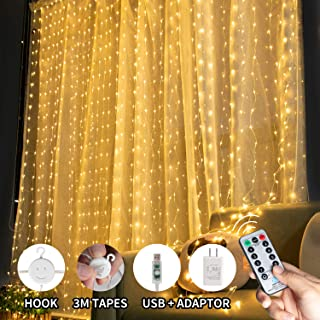 9.8ftx9.8ft USB and Adapter Powered Window Curtain Icicle String Lights with Remote & Timer, 300 LED Fairy Twinkle Lights with 8 Modes Fits for Bedroom Wedding Party Wall Decoration, Warm White