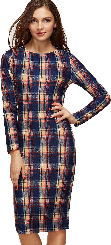 MakeMeChic Women's Casual Plaid Long Sleeve Elegant Wear to Work Bodycon Pencil Dress