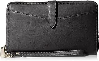 SOCIETY NEW YORK Women's Zip Around Wristlet with Coin Case, Black