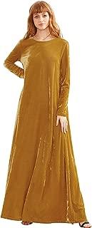 Women's Elegant Long Sleeve Velvet Loose Maxi Dress