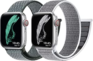vezobe 2 Pack Solo Loop Compatible with Apple Watch Band 38mm/40mm/42mm /44mm,for iWatch Series SE 6 5 4 3 2 1 Strap, Elastic Braided Breathable Soft Light Replacement Wristband