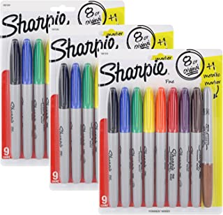 Sharpie Permanent Marker 8 Original Plus 1 Metallic Marker (Pack of 3=27 Markers Total)
