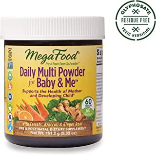 MegaFood, Daily Multi Powder for Baby & Me, Prenatal and Postnatal Multivitamin Supplement, Gluten Free, Vegetarian, 5.33 oz (60 Servings)