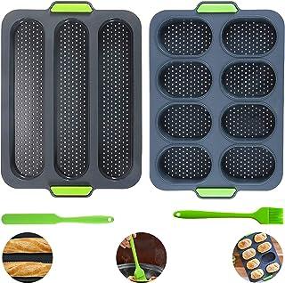 Tallgoo Moulle Silicone Baguette -Moules à Muffins- Plaque à Pain Baguette Antiadhésif Pour baguettes Plaque Baguette,Muff...