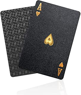 BIERDORF Diamond Waterproof Black Playing Cards, Poker Cards, HD, Deck of Cards (Black)