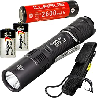 Klarus XT2C CREE XP-L HI V3 LED 1100 Lumens Flashlight with 18650 2600mAh Rechargeable Li-ion Battery with 2x Extra Energizer CR123A
