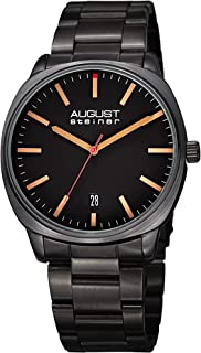 August Steiner Men's Cushion-Shaped Watch - Sunray Dial with Date Window On Stainless-Steel Bracelet - AS8237