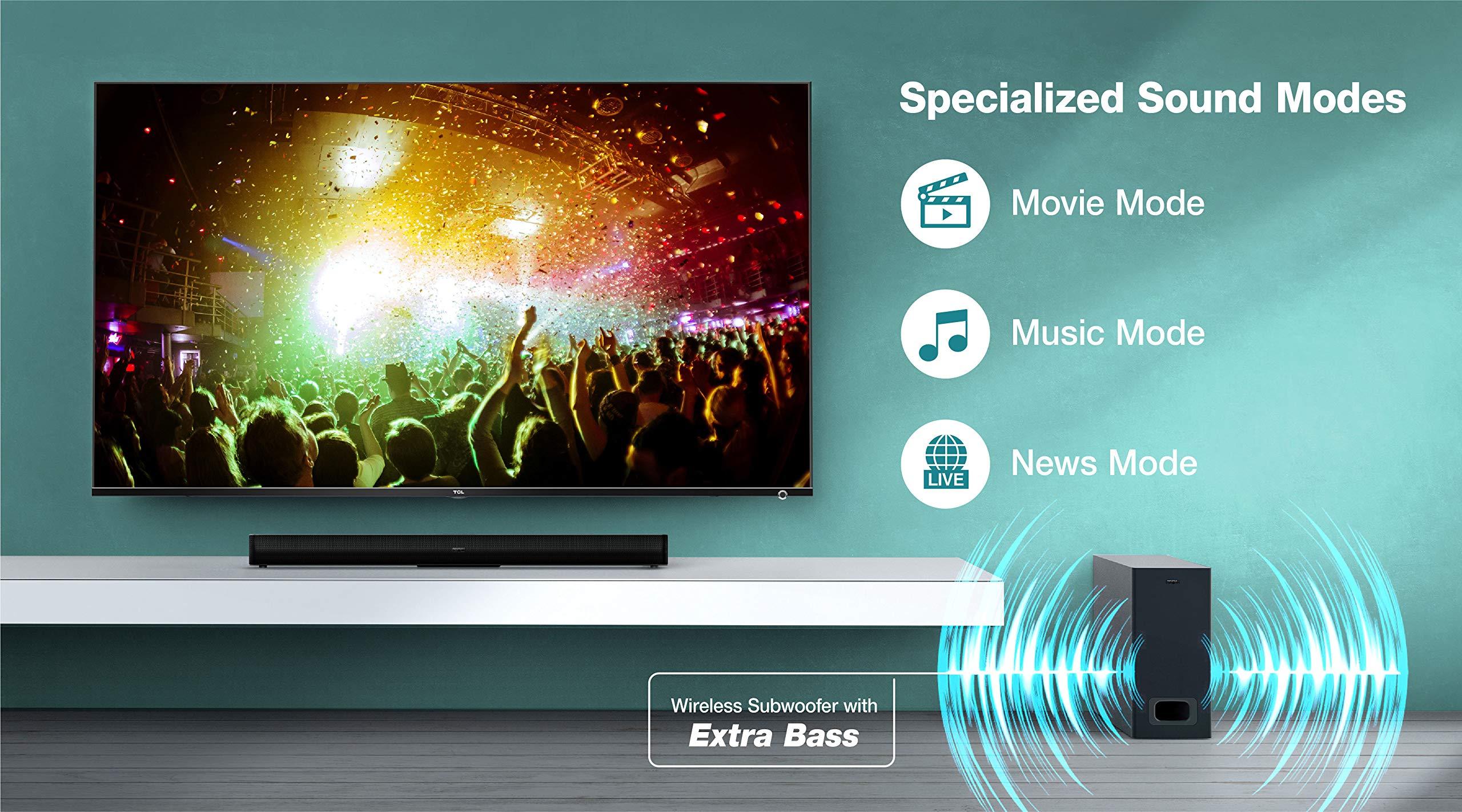 Barra de Sonido TCL TS5010 (80 cm) para TV con subwoofer (Bluetooth, Canal de Sonido 2.1, 120 vatios, Dolby Digital, Entrada AUX de 3,5 mm, Mando a Distancia), Color Negro: Amazon.es: Electrónica