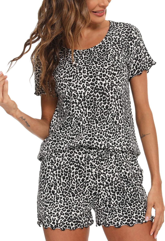 Hefunige Womens Short Sleeve Pajama Short Sets Sleepwear Petite Plus Size S-4XL