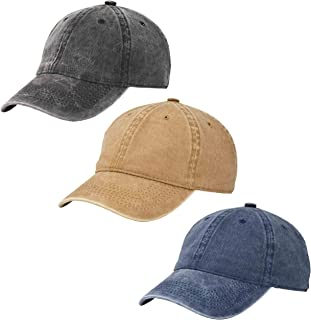 Sponsored Ad - 3 Pack Vintage Washed Cotton Adjustable Baseball Caps Men and Women, Unstructured Low Profile Plain Classic...