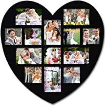 Adeco [PF0304 Decorative Black Wood Wall Hanging Heart-Shaped Picture Photo Frame, 13 Openings of 4x6 inches, 4x4 inches